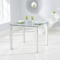 Product photograph showing Sarahan Square Glass Dining Table With Chrome Legs