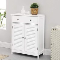 Product photograph showing Sarasota Wooden Bathroom Storage Cabinet In White