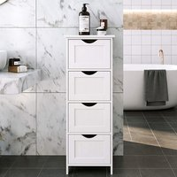 Product photograph showing Sarasota Wooden Floor Bathroom Storage Cabinet In White