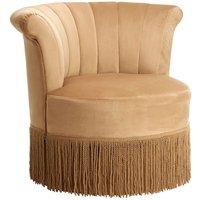 image-Sarracin Polyester Velvet Swivel Bedroom Chair In Cream