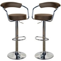 Saturn Brown Leather Bar Stool In Pair