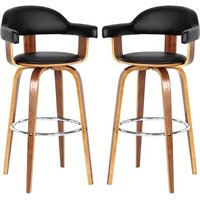 Savial Black Leather Rotating Bar Chairs With Armrest In Pair