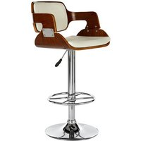 Savial Faux Leather Seat Bar Stool In White And Walnut