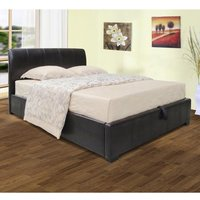 Savona Faux Leather Storage Single Bed In Black