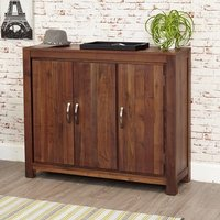 Sayan Wooden Shoe Storage Cabinet In Walnut With 3 Doors