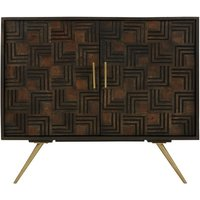 Paikauhale Wooden Sideboard In Brown With Warm Gold Finish Legs