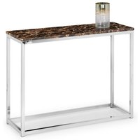 Product photograph showing Scala Bronze Marble Top Console Table With Chrome Base