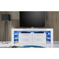 image-Sorrento High LCD TV Stand In White Gloss With Blue LED Light