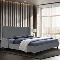 Product photograph showing Scottsbluff Plush Velvet Single Bed In Grey