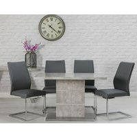 Product photograph showing Seattle Marble Effect Dining Set With 4 Grey Dining Chairs