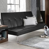 Product photograph showing Seattle Faux Leather Sofa Bed In Black