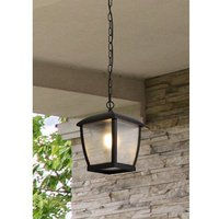 Product photograph showing Seattle Outdoor Clear Acrylic Ceiling Pendant Light In Black