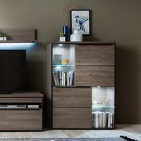 image-Seattle Wooden Display Cabinet In Oak And Stone Grey With LED