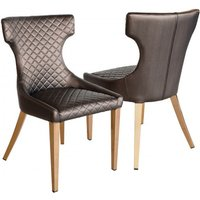 Product photograph showing Segin Shiny Bronze Faux Leather Dining Chairs In Pair