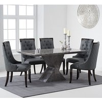 Senna Marble Dining Table In Grey And High Gloss With 6 Chairs