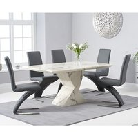 Senna Marble Dining Table In White And High Gloss With 6 Chairs
