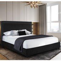 Sensio Plush Velvet Single Bed In Black