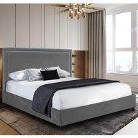 Sensio Plush Velvet Single Bed In Grey