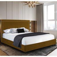 Sensio Plush Velvet Single Bed In Mustard