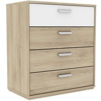 Product photograph showing Sentorino Wooden Chest Of Drawers In Kronberg Oak And Matt White