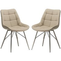 Product photograph showing Serbia Stone Faux Leather Dining Chair In Pair