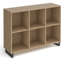 Sevan Low Wooden Shelving Unit In Kendal Oak With 6 Shelves