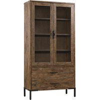 Product photograph showing Sevilla Display Cabinet In Dark Pine With 2 Doors And 2 Drawers