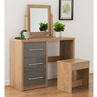 Product photograph showing Seville Dressing Table Set In Grey High Gloss And Light Oak