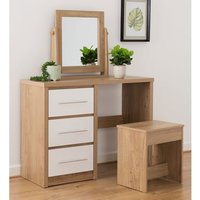 Product photograph showing Seville Dressing Table Set In White High Gloss And Light Oak