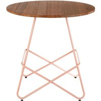 Pherkad Wooden Round Dining Table With Metallic Pink Legs