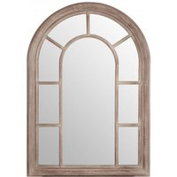 Product photograph showing Sharia Window Design Wall Bedroom Mirror In Chinese Oak Frame
