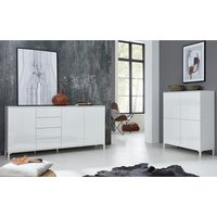 Product photograph showing Sheldon Large Sideboard And Storage Cabinet In White High Gloss