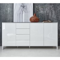 Product photograph showing Sheldon Large Sideboard In White Gloss With 3 Doors 4 Drawers