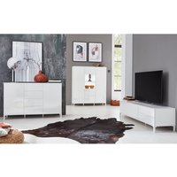 Product photograph showing Sheldon Living Room Furniture Set And Sideboard In White Gloss