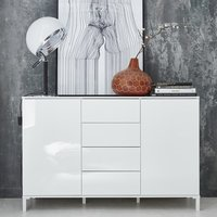 Product photograph showing Sheldon Medium Sideboard In White Gloss With 2 Doors 4 Drawers
