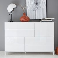 Product photograph showing Sheldon Sideboard In White High Gloss With 2 Doors And 4 Drawers