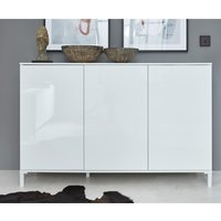 Product photograph showing Sheldon Small Sideboard In White High Gloss With 3 Doors