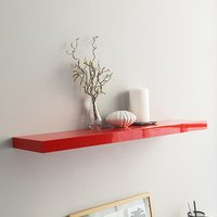 Product photograph showing Shelvza Large Wooden Wall Shelf In Red High Gloss