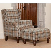 Shetland Fabric Lounge Chair In Dove Grey With Foot Stool