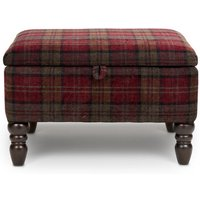 Product photograph showing Shetland Fabric Storage Foot Stool In Claret