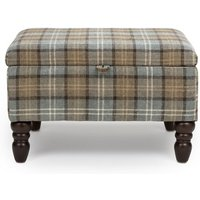Product photograph showing Shetland Fabric Storage Foot Stool In Dove Grey