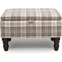 Product photograph showing Shetland Fabric Storage Foot Stool In Latte