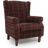 Product photograph showing Shetland Fabric Upholstered Lounge Chair In Claret