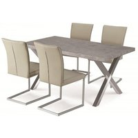 Shiro Dining Table Set In Stone Effect With 6 Beige Chairs