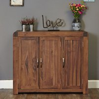 Product photograph showing Shiva Large Wooden Shoe Storage Cabinet In Walnut