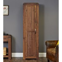 Product photograph showing Shiva Tall Wooden Shoe Storage Cabinet In Walnut