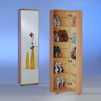 Product photograph showing Wooden Shoe Cabinet With Mirror In Beech