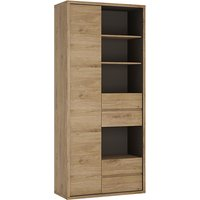 Product photograph showing Sholka Tall Wide 1 Door 4 Drawers Bookcase In Oak