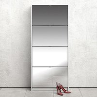 Shovy Mirrored Shoe Cabinet In White With 4 Doors And 2 Layers