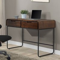 Product photograph showing Sicenza Wooden Computer Desk In Walnut And Black With 2 Drawers